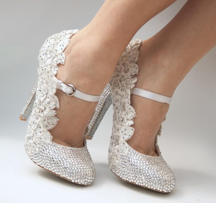666f56623dc8 Luxury wedding shoes with around 1600 genuine swarovski crystals   luxury  lace. Unique crystal wedding shoes that are a one of a kind
