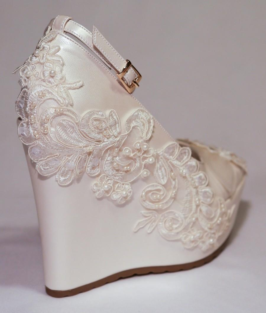 Wedding Wedge Shoes Bridal ShoesBridal Platform Wedges Ivory Shoe