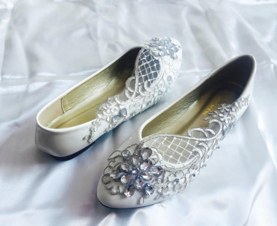 Свадьба - Wedding Flats,Bridal Ballet Shoes,Comfortable Flats, Shoes Flat Lace Shoes Womens Wedding Shoes