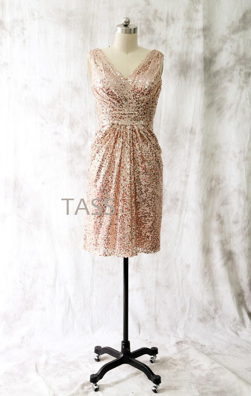 Tail Dress Rose Gold Sequin Bridesmaid Short Party V Neck Formal Mini Prom