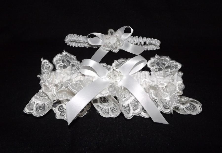 Mariage - Couture White Beaded Lace Wedding Garter Set OOAK