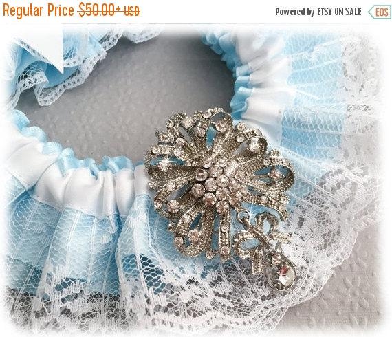 Mariage - 15% OFF Something Blue Garter Set, Aqua Blue Bridal Garter Set, White Lace Garter Set, Blue Lace Wedding Garter Set, White Garter Set