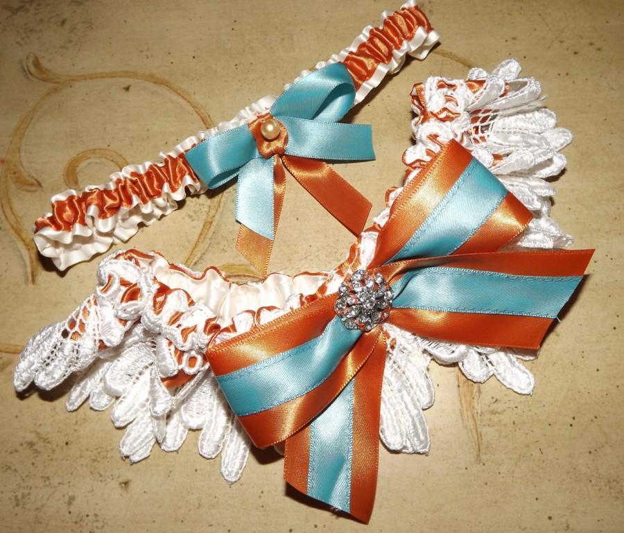 Mariage - Ivory Lace Burnt Sienna and Turquoise Wedding Bridal Garter Set, Southwestern Colors