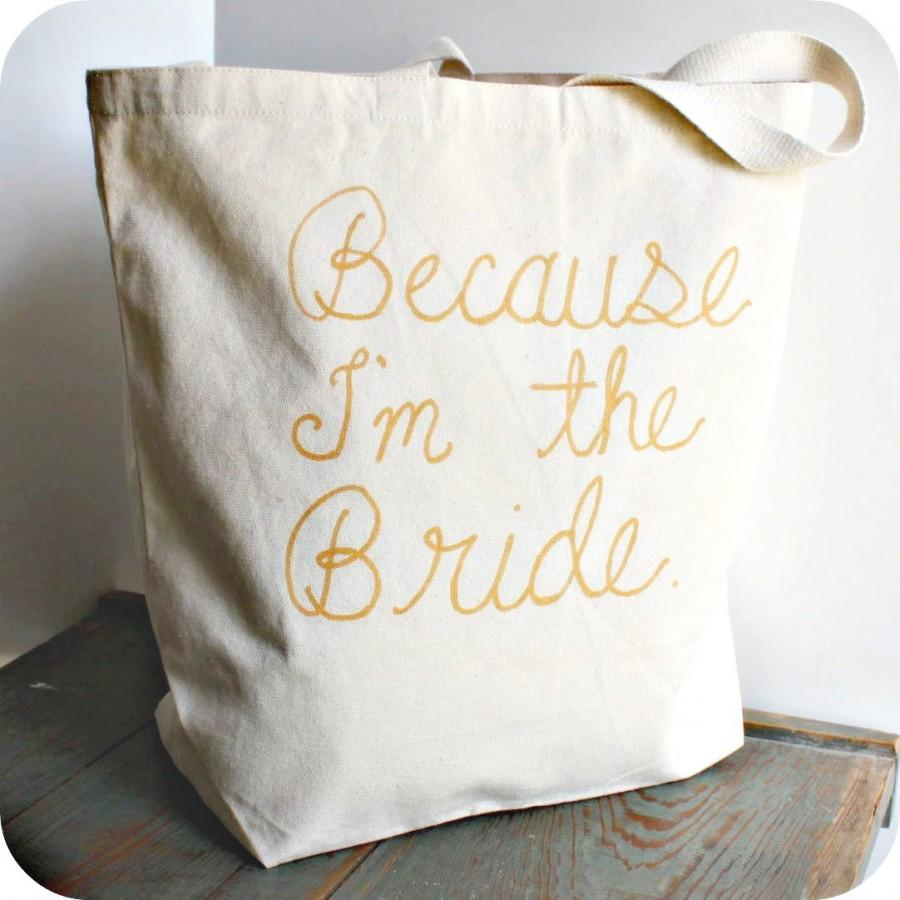 Свадьба - Funny Bridal Tote Bag Gold White Hand Painted Recycled Cotton humor wedding shower bride