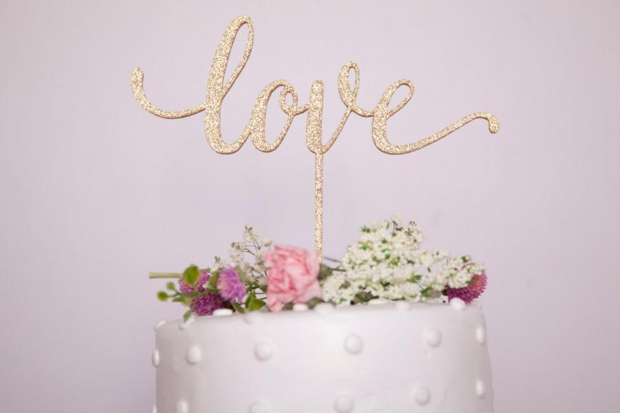 زفاف - Love Wedding Cake Topper- Glitter Gold