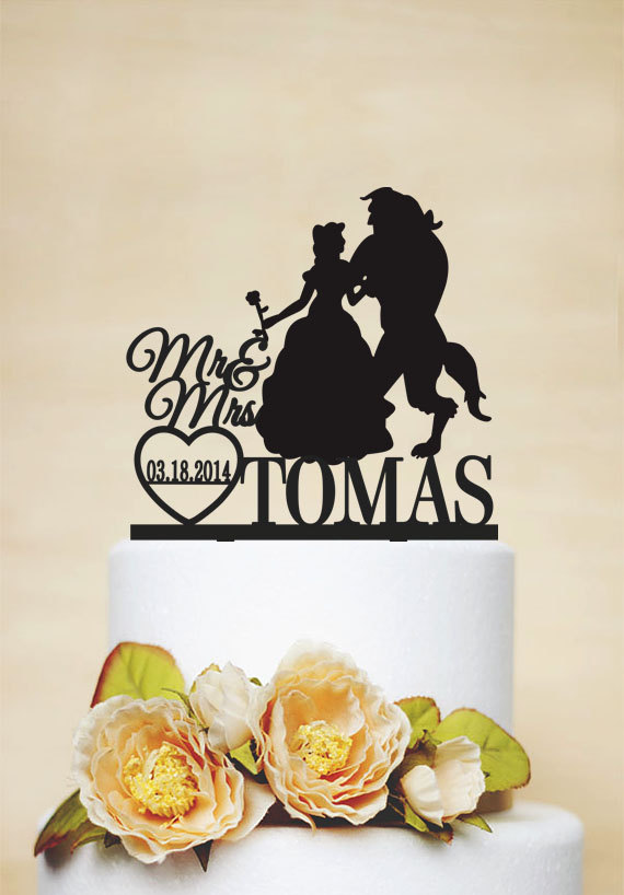 Mariage - Mr & Mrs Cake Topper With Last Name,Beauty And Beast,Custom Cake Topper,Disney Style Cake Topper,Unique Cake Topper- c059