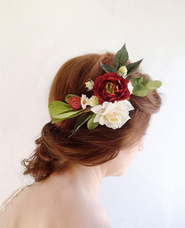 Wedding Hair Piece Burgundy Red Hair Accessory Bridal Hairpiece