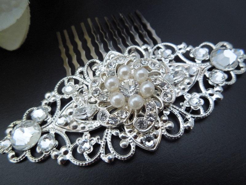 Свадьба - Pearl Bridal Hair Comb,Wedding Hair Comb,Bridal Rhinestone Hair Comb,Silver Hair Comb,Vintage Style,Ivory or White Pearl,Pearls,Bride,AMELIA