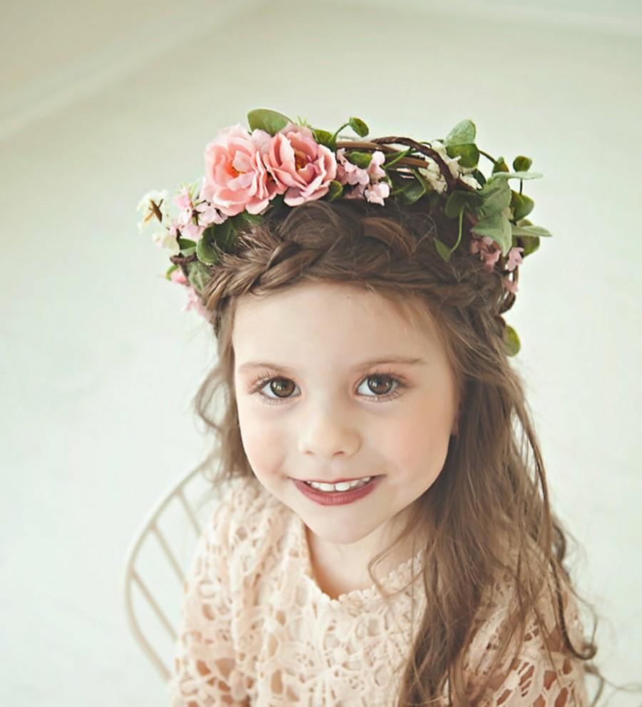 Flower crown flower girl bohemian flower crown photo prop flower flower crown flower girl bohemian flower crown photo prop flower crown blush greenery flower crown rose bohemian headpiece izmirmasajfo