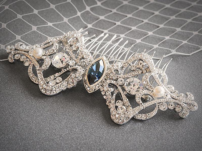 Свадьба - Bridal Hair Accessories, Wedding Hair Comb, Swarovski Crystal and Pearl Bridal Hair Comb, Victorian Art Deco Headpiece Jewelry, ESTHER