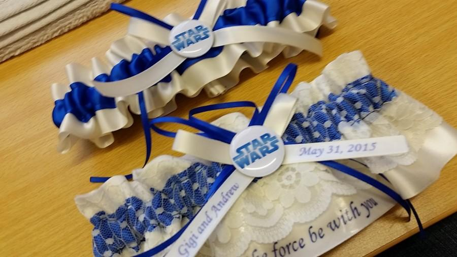 Mariage - star wars wedding garter set ivory and blue starwars garter set May the force be with you.