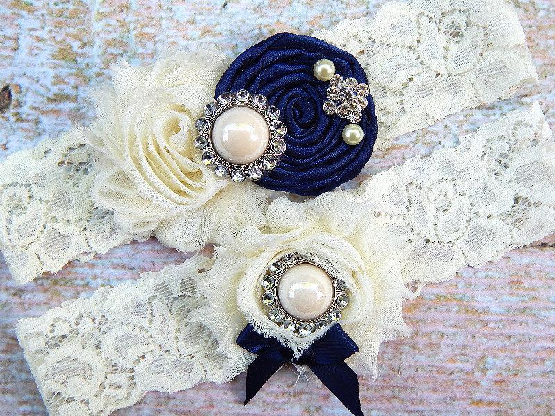 Mariage - NAVY BLUE Garter Set / Wedding Garter / Bridal Garter / Lace Garter / Toss Garter / Something Blue / Vintage Garter / Keepsake Garter