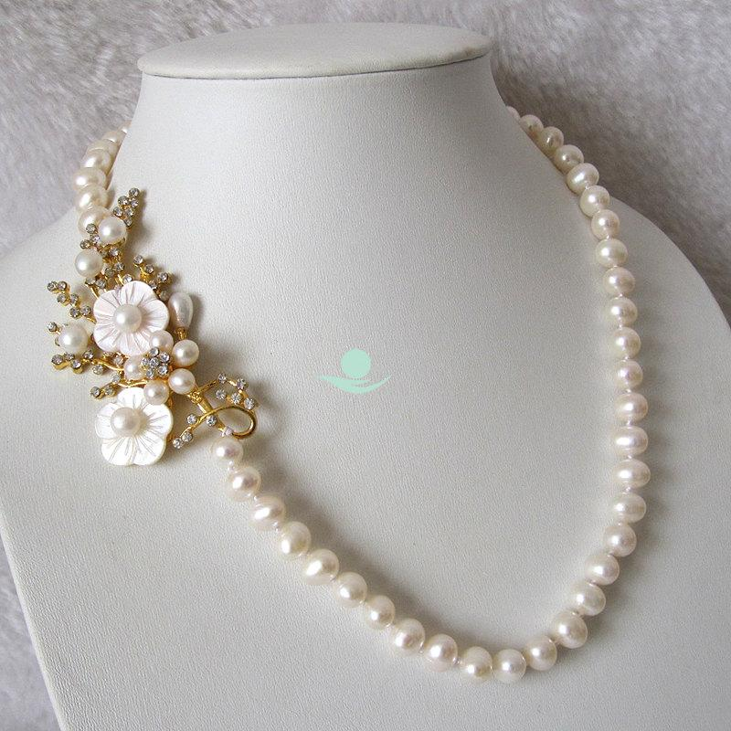 Mariage - Wedding Necklace, Statement Necklace - 20.5 inch 8-9mm White Freshwater Pearl Necklace with Flower Y - Free Shipping