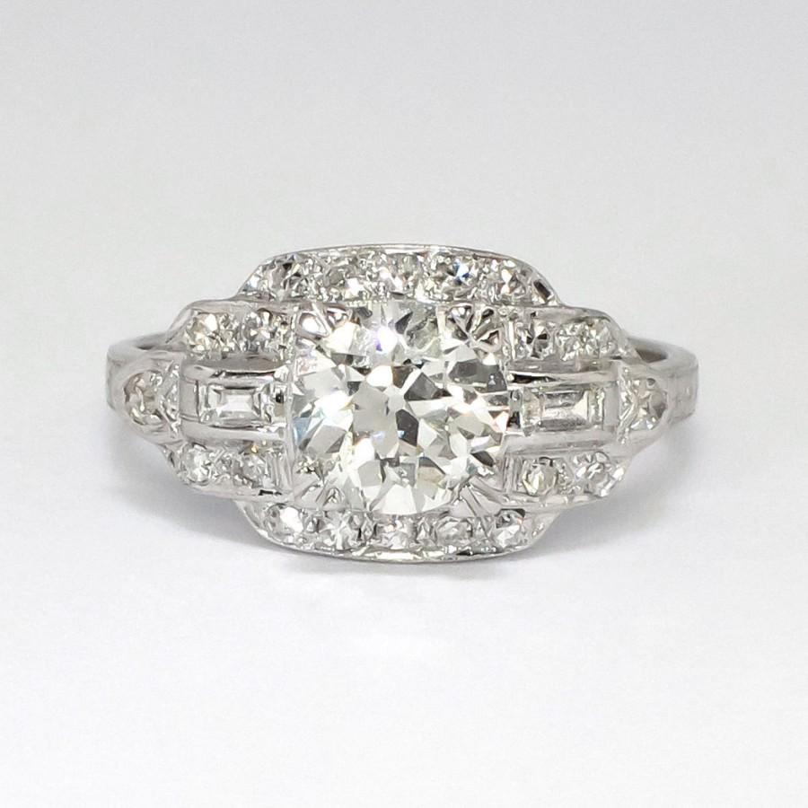 Art Deco Sensational 1930's 156ct Tw Old European Cut Diamond Engagement  Ring Platinum