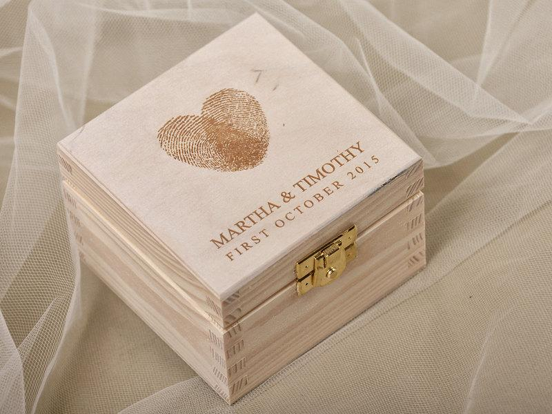 Fingerprint wood wedding ring bearer box rustic wooden for Cute engagement ring boxes