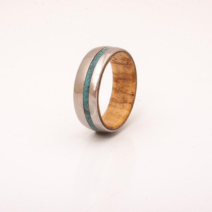 Hochzeit - Mens Titanium and Turquoise wedding band wood ring olive wood ring