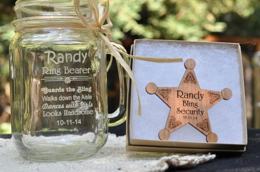 Ring Bearer Gift Set Junior Groomsman Personalized Badge Security Wedding Pin