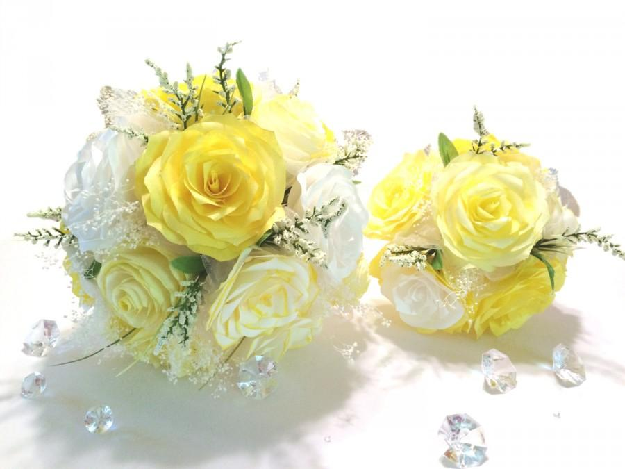 Yellow And White Paper Rose Wedding Bouquet Can Be Made In Colors
