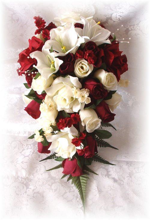 Wedding Bouquets Bridal Silk Flowers 21pc Burgundy Cream Ivory Roses ...