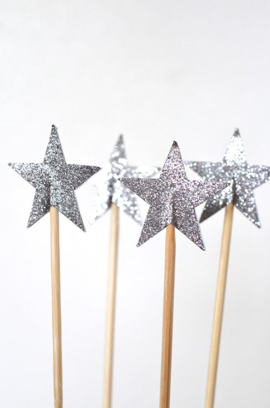 Mariage - Sparkly Star Cake Pop Sticks, 12 decorated dessert toppers in pink, blue, yellow, gold or silver