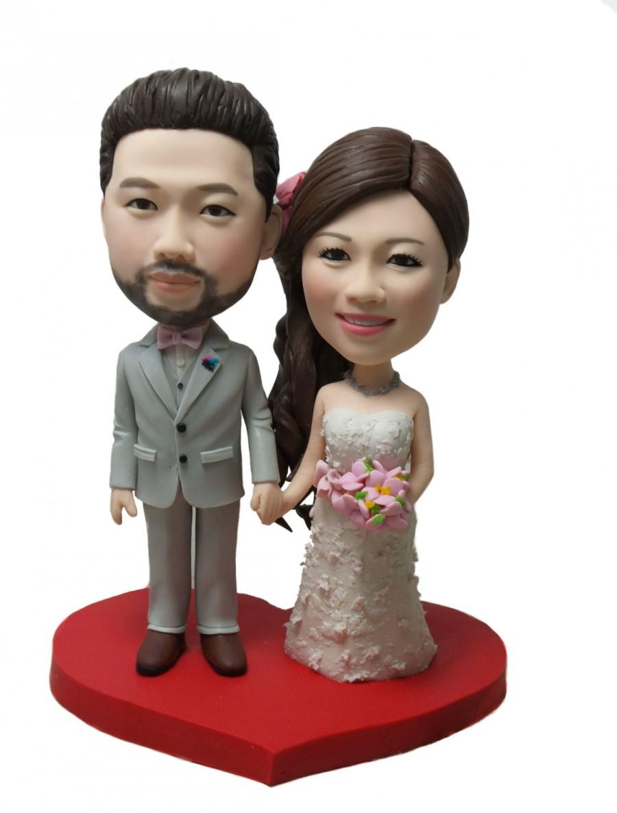Unique Wedding Cake Topper Personalized Customm Polymer Clay