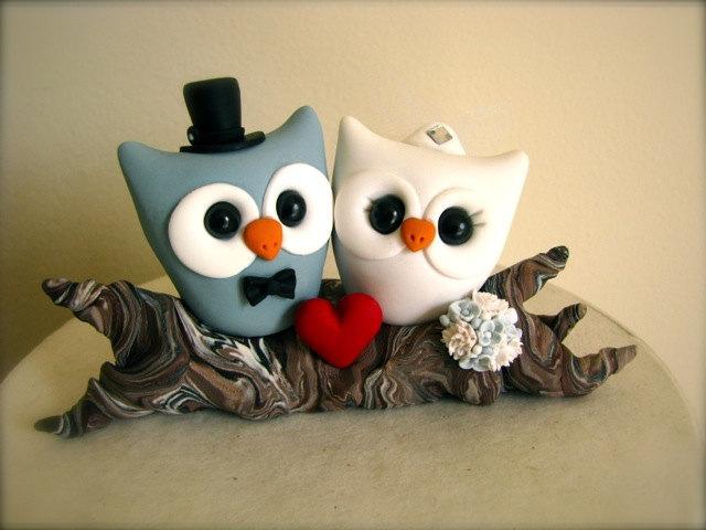 Mariage - Owl love on a branch custom wedding cake topper