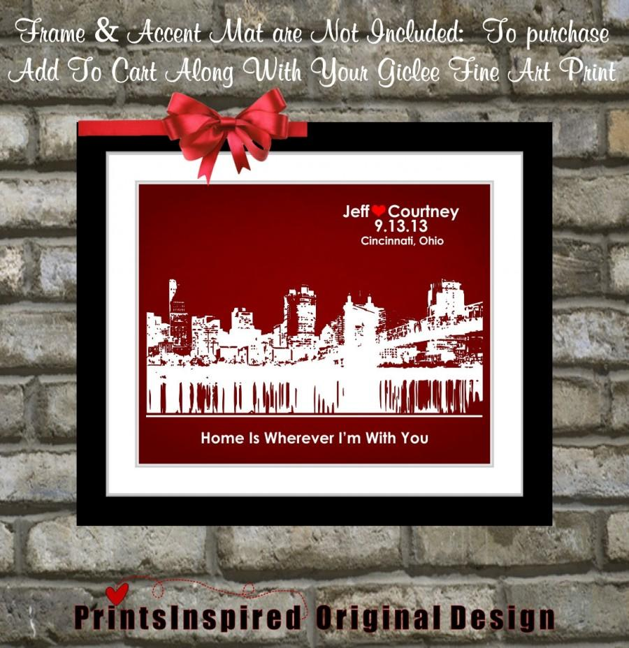 Mariage - ANY Hometown Skyline Most Popular Wedding Gifts: For Fiance Husband Wife Custom Gift Anniversary Gift Engagement Gifts Present Art Print