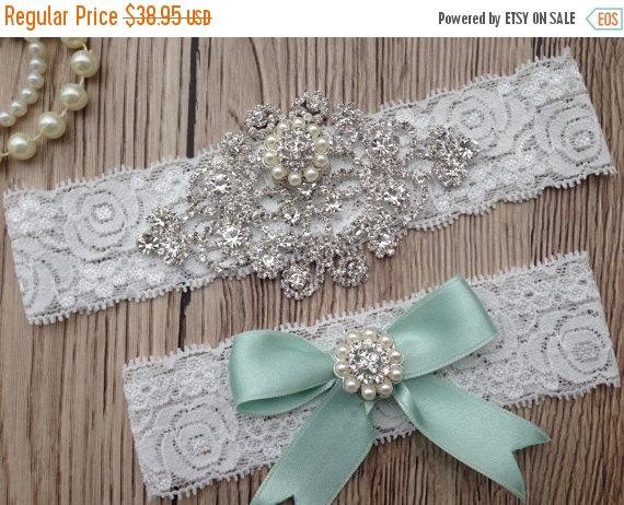 Hochzeit - ON SALE Wedding Garter - Mint Garter - Bridal Garter Belt - Crystal Rhinestone - Lace Garter - Mint Garter Set - Keepsake Garter - Toss Gart