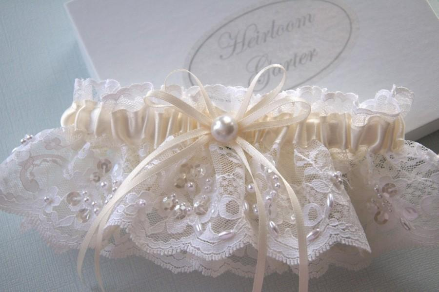 Hochzeit - Your Choice of White or Ivory Chantilly Beaded Lace Wedding Garter for Bride