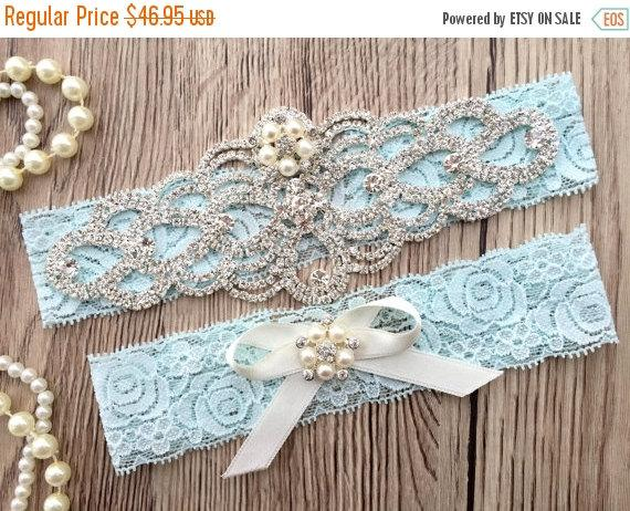 Hochzeit - ON SALE Blue Wedding Garter Belt - Bridal Garter Set - Rhinestone Garter - Pearl Garter - Blue Lace Garter - Keepsake Garter - Toss Garter