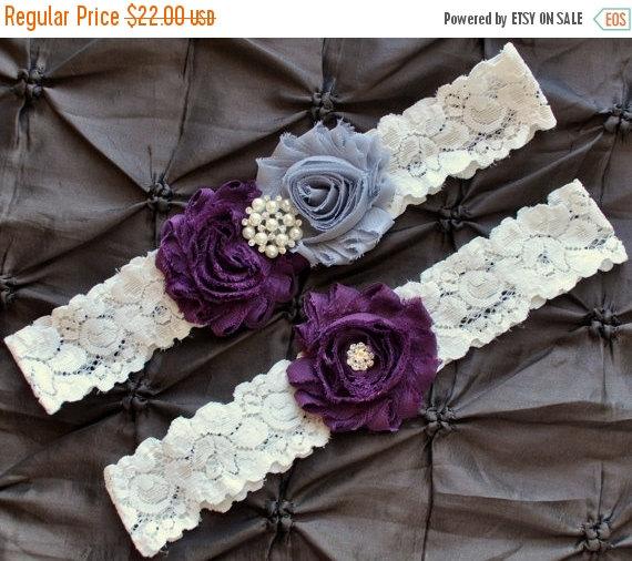 Hochzeit - ON SALE Plum Wedding Garter, Bridal Garter Set - Ivory Lace Garter, Keepsake Garter, Toss Garter, Shabby Chiffon Rosette Plum & Gray Wedding