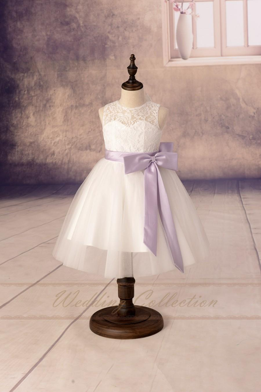 Düğün - Lace Flower Girl Dresses, Tulle Flower Girls Dress With Lilac Sash and Bow