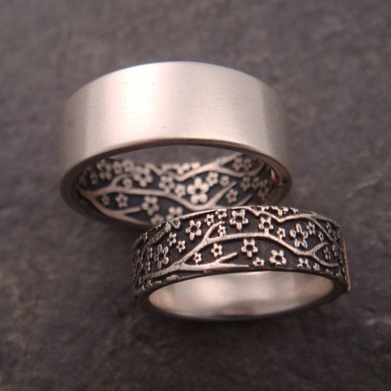 Opposites Attract Wedding Band Set Cherry Blossom Pattern In Sterling Silver