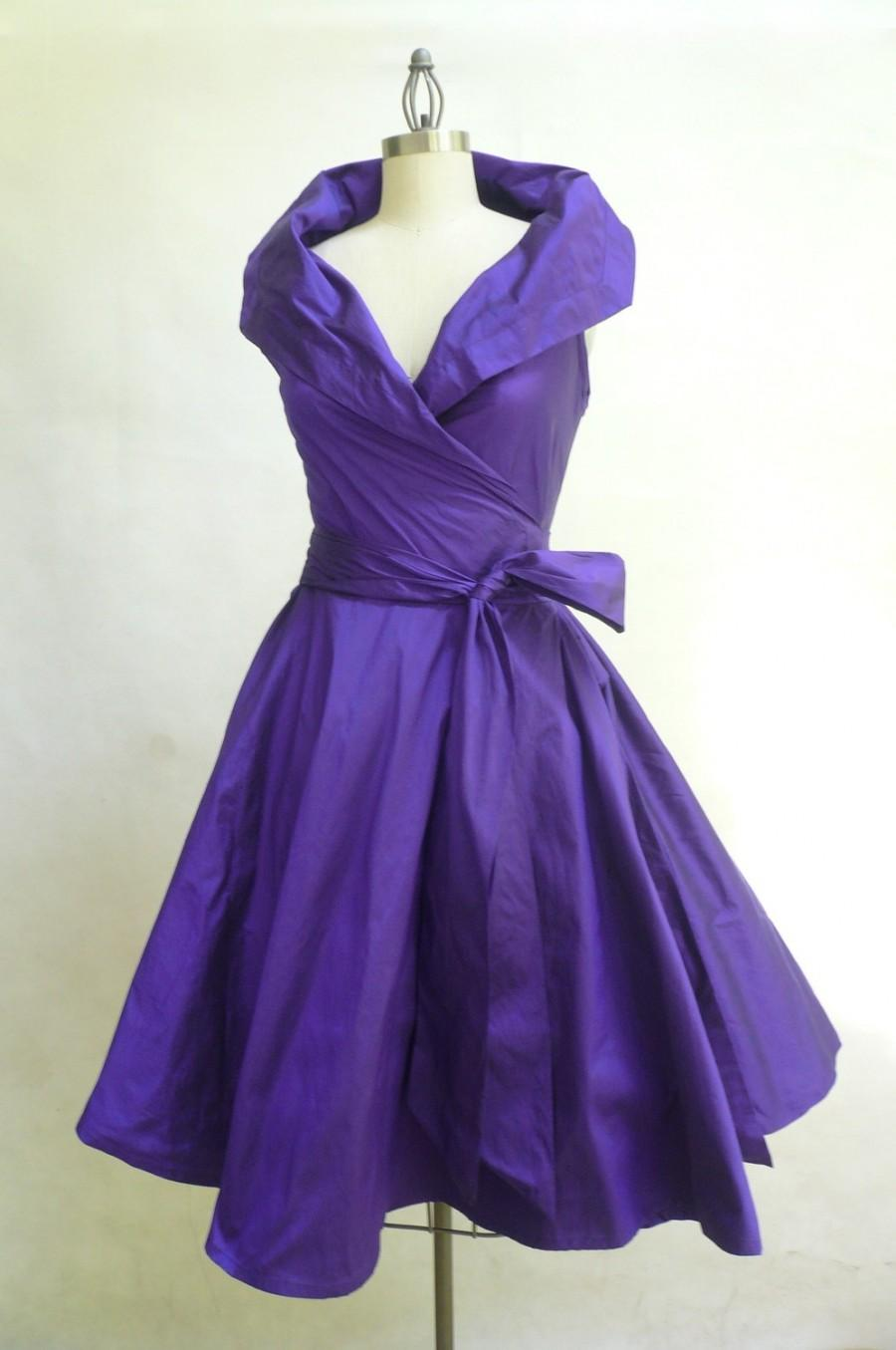 Custom Made MARIA SEVERYNA Wrap Full Skirt Dress Vintage 1950s Style ...
