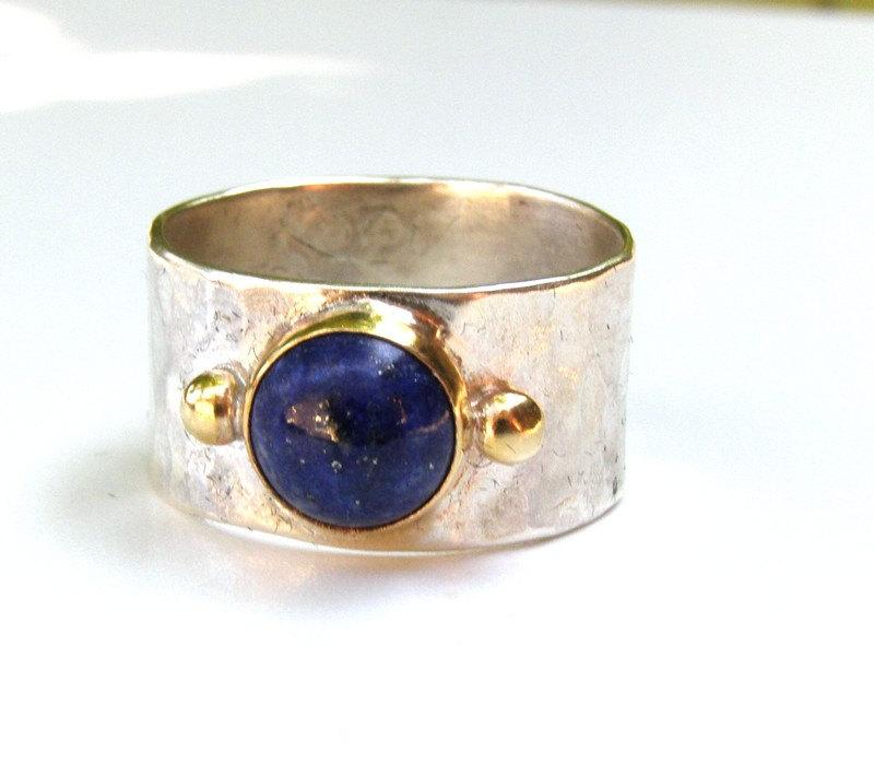 Handmade Engagement Ring Fine 14k Gold Ring Silver Ring Blue Lapis