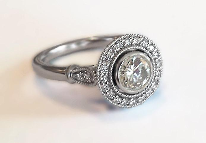 Vintage Halo Style Engagement Ring In 14k White Gold With Diamonds