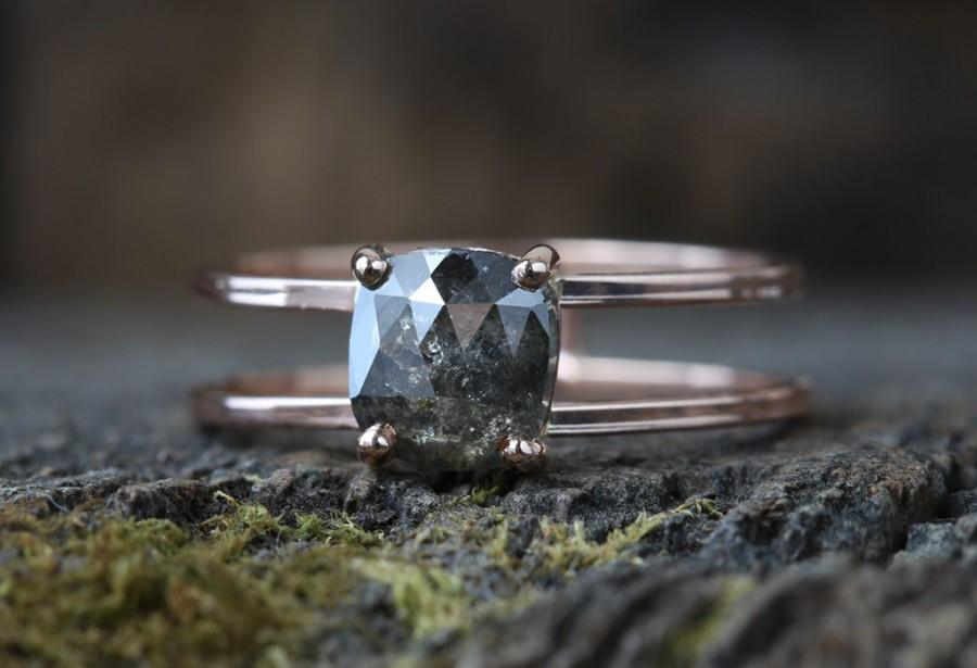 زفاف - Natural Rose Cut Cushion Black Diamond Ring- Double Band