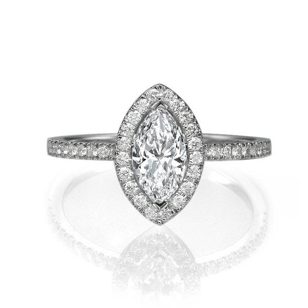 Hochzeit - 1.3 TCW Marquise Engagement Ring, Halo Ring, 14K White Gold Ring, Diamond Ring Band, Marquise Ring, Halo Engagement Ring