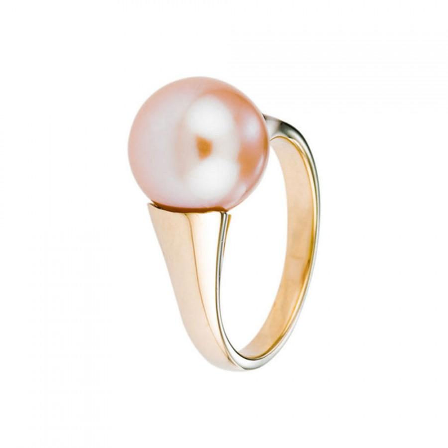 Свадьба - Engagement Ring, Pink Pearl Ring, 14K Yellow Gold Ring, Size 6