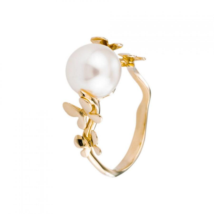 Mariage - Pearl Engagement Ring, White Freshwater Pearl, 14K Yellow Gold Ring, Size 6