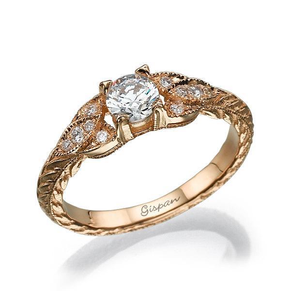 زفاف - Antique Engagement Ring Rose Gold With Milgrain&Diamonds, Unique engagement ring, Vintage Ring, Rose Gold Engagement Ring, Rose Gold Ring