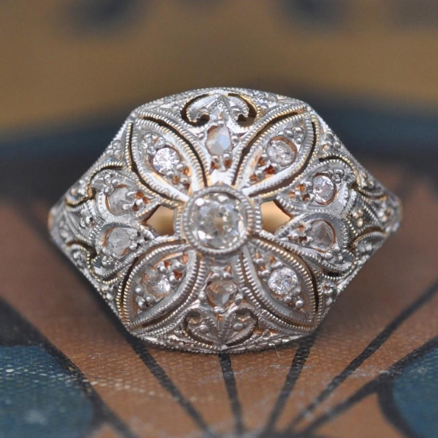 Hochzeit - Unique Engagement Ring-Art Deco Engagement Ring -1920s Engagement Ring-Filigree Engagement Ring-Edwardian Engagement Ring-Antique Engagement