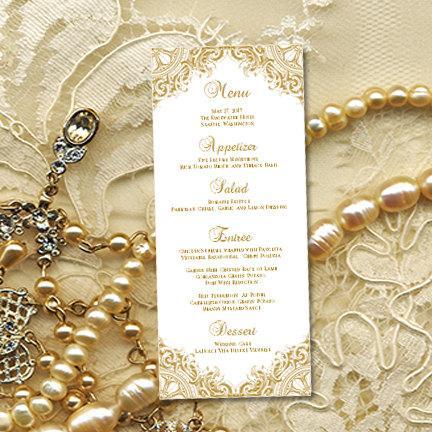 "زفاف - Printable Wedding Menu Template ""Vintage"" Gold Word.doc Editable Instant Download Wedding or 50th Anniversary DIY You Print"
