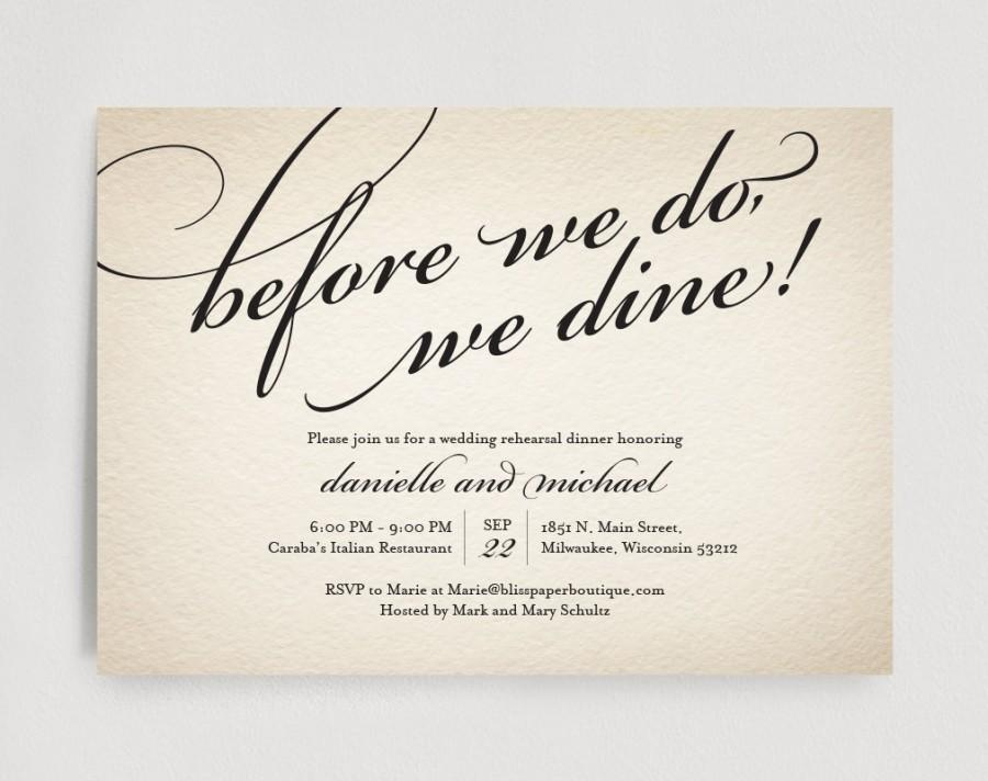 Hochzeit - Wedding Rehearsal Dinner Invitation Editable Template - Before we do, we dine! - Rustic PDF Instant Download