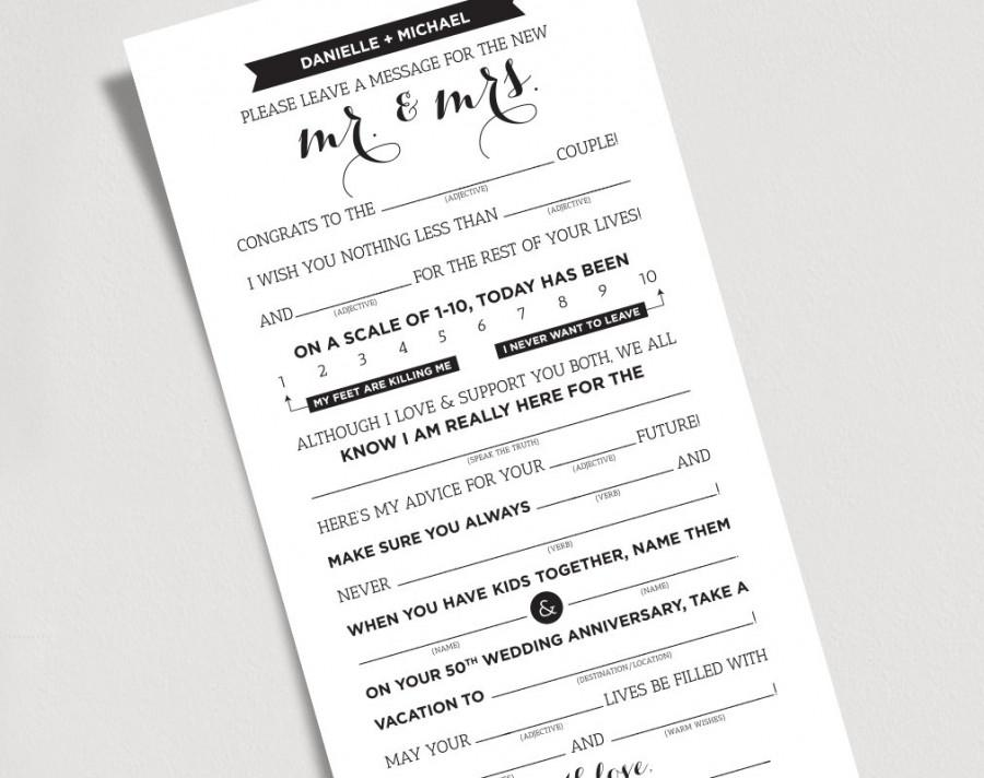 Wedding Mad Libs Printable Template Kraft Sign Mr And Mrs Bride Groom Card Marriage Advice Keepsake