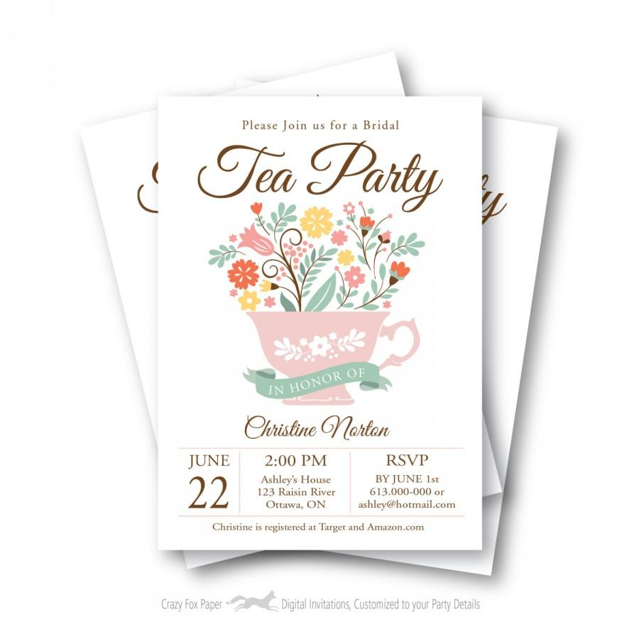 bridal shower tea party invitation customized printable tea cup vintage flowers
