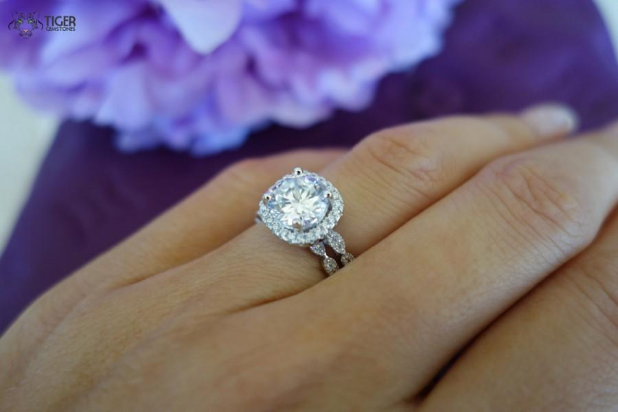 2 25 Carat Halo Wedding Set Vintage Bridal Rings D Color Man Made Diamond S