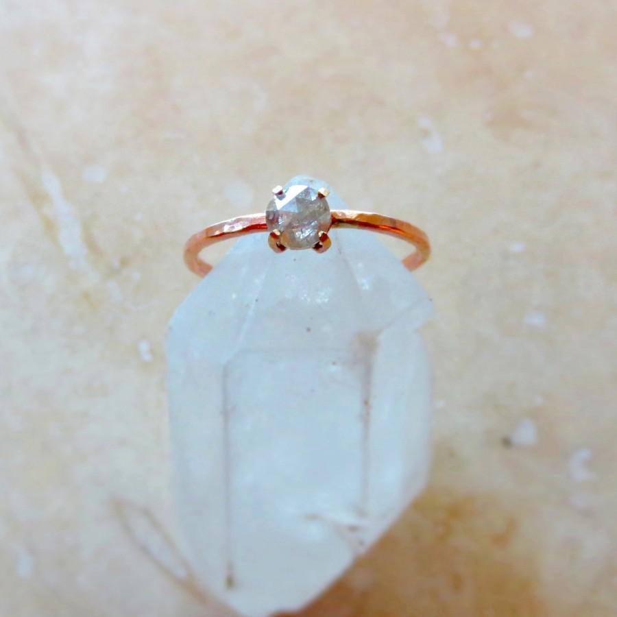Свадьба - Rose Gold Diamond Ring, Diamond Engagement Ring, Alternative Engagement Ring, Rose Cut Diamond Ring, Light Grey 4.5mm Diamond, Made To Order