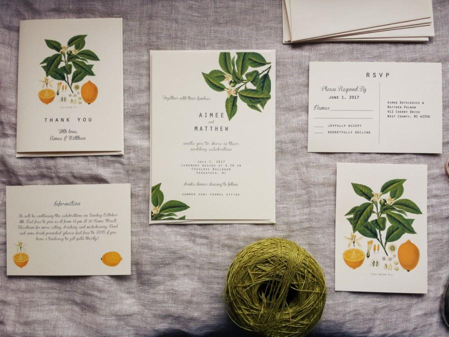 lemon wedding invitation vintage lemon plant wedding stationery