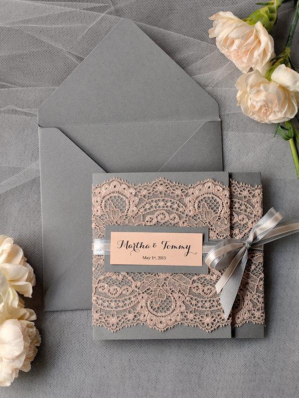 Mariage - Custom listing (100) Peach Wedding Invitations, Lace grey and Peach invitation, Vintage Wedding Invitations,